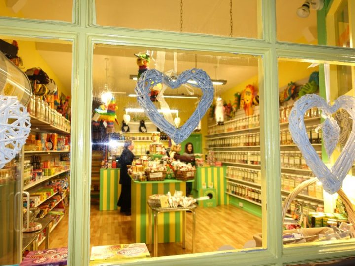 Photo taken from the outside of the sweet shop showing much of our sweet jars and American candy stock