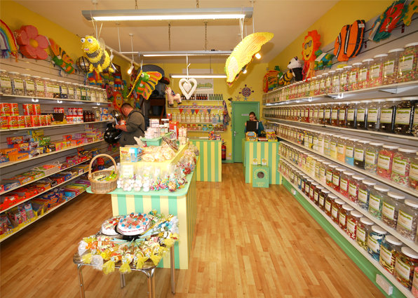 Internal photo of our sweet shop showing some of our 350 sweet jars and a selection of our American Candy