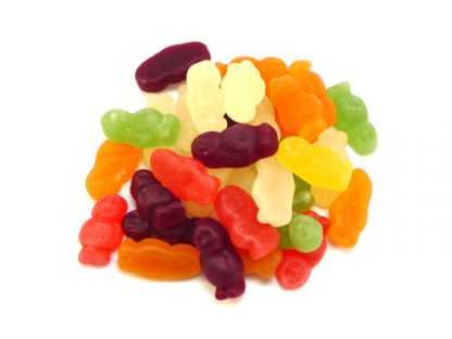 Our Jelly Babies are made by our friends at Haribo and are a timeless classic sweet with fruit flavours and in the shape of little people