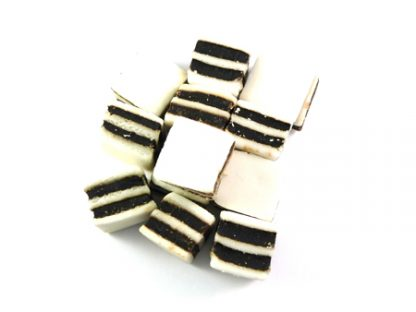 Black and White Mint Sweets are a traditional sweet made by combining the flavours of liquorice and mint in layers to create the famous black and white stripes