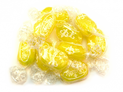 Sherbet Lemon Sweets are a traditional boiled sweet with a lemon outer and a sherbet centre, beautiful in bright yellow, ours are wrapped to avoid stickiness