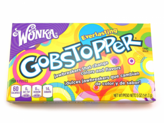 Wonka Everlasting Gobstoppers are packaged in an attractive Theatre box which contains 141.7g. These jawbreakers change colour and flavour as you suck them and have a fantastic retro packaging design