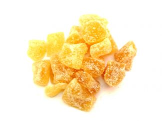 Crystallised Ginger Sweets are strong ginger flavour pieces covered with sugar
