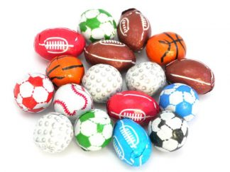 Chocolate Sportsballs are wrapped chocolates in the shapes of various sportsballs, rugby, football and golf balls are all features in this mix of colourful chocolates