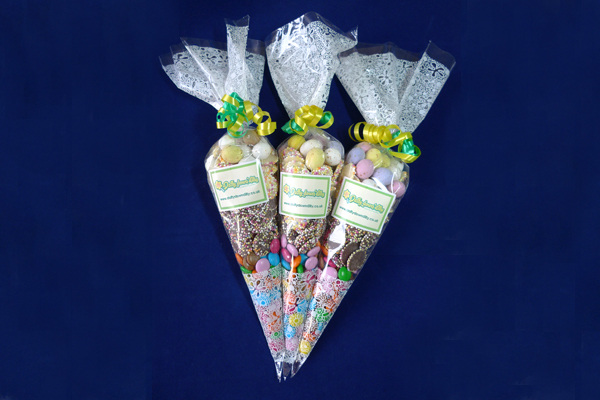 Chocolate Sweet Cone Bag - delicious mix of all sorts of chocolates, Snowies, Jazzies and chocolate eggs for starters fill these beautiful cone bags which are hand filled and hand tied with contrasting and attractive ribbons