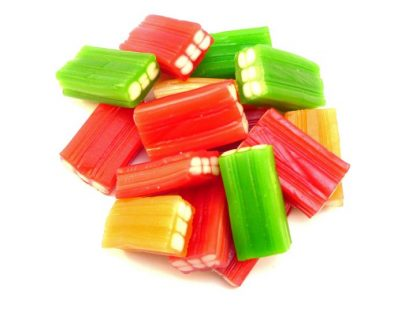 Fruity Cable Bite sweets are a great retro jelly sweet so called because of their appearance being similar to an electric cable. Bright green, orange and red works beautifully with the white 'cable' interior