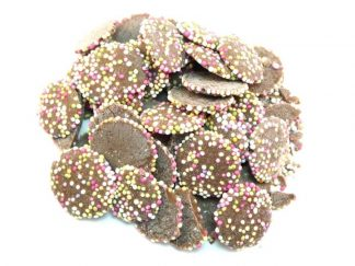 Milk chocolate Jazzies sweets are a traditional and famous milk chocolate drop covered with colourful sprinkles