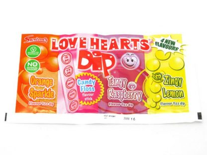 Love Hearts Dip are a super version of this famous packet of sweets - three flavours of fizz Dip including Orange, Raspberry and Lemon and a Candy Floss flavoured stick