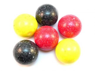 Medium Gobstoppers are a traditional sweet pictured here in black, red and yellow.