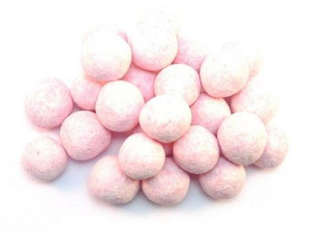 Strawberry Bonbons are a beautiful traditional sweet with a powdery coating flavoured with Strawberry covering a hard toffee centre