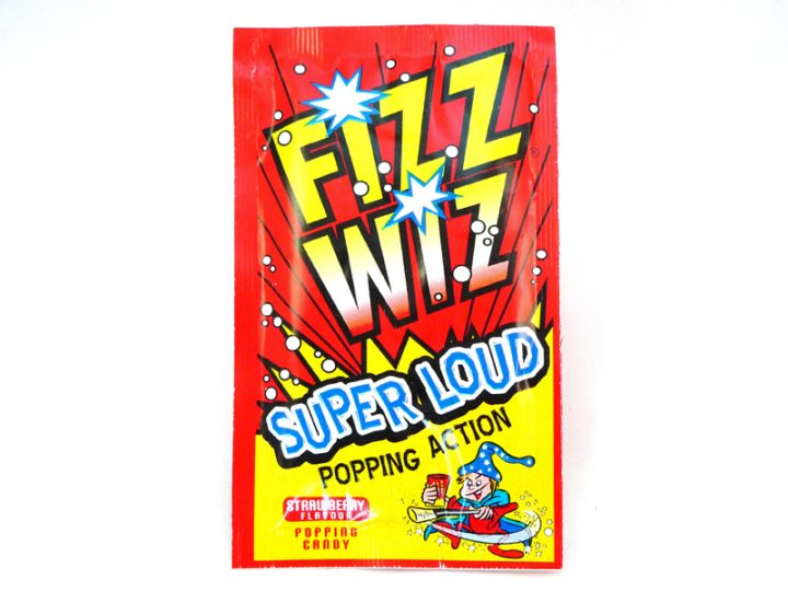 Strawberry Fizz Wizz, a packet of popping candy in Strawberry Flavour