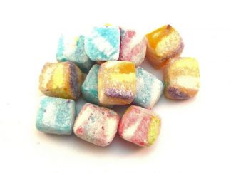 Tutti Fruitti Cubes are colourful boiled sweets with a fizzy fruit flavour. A modern alternative to a Kola Kube