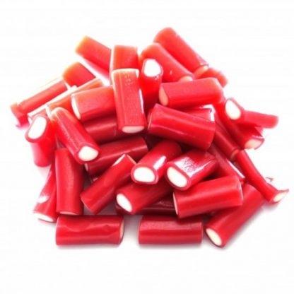 Mini strawberry pencil sweets are a firm favourite in our sweet shop. With a red outer and a white fondant centre