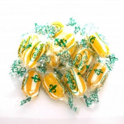 One of our most popular Sugar-free sweets, Sugar Free Pineapple Fizz Sweets in individually wrapped and yellow and white striped with a sherbet centre