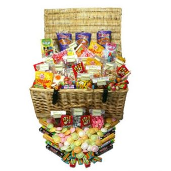 A huge quality wicker hamper filled to bursting with the very best in retro sweets, flying saucers, fizz whizz, liquorice torpedoes, Dip Daps and many many more
