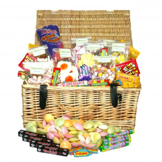 a genuine quality wicker hamper containing our very best in retro sweets. Flying Saucers, Fizz Wizz, Drumsticks, Dolly Mix, Shrimps and too many more sweets to name