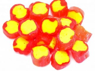 A traditional Pineapple rock sweets has a bright yellow inside and a red outside and has the most wonderful pineapple flavour