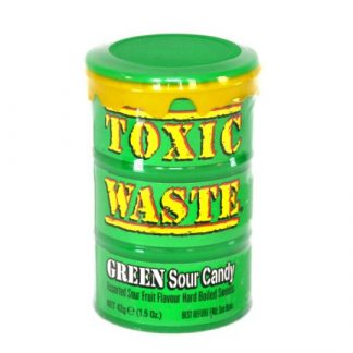 A tub of Toxic Waste Green Sour Candy. A popular sour sweet in a green tub with assorted Fruit Flavours