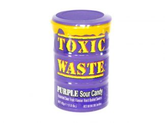A tub of Purple Toxic Waste, a popular sour sweet with assorted fruit flavours
