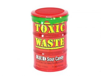 A pot of Toxic Waste Red sour candy, a popular sour sweet with assorted Fruit flavours
