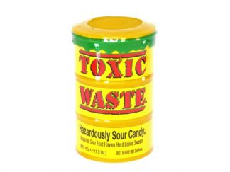 A pot of Toxic Waste Yellow, a popular hazardously sour sweet with assorted fruit flavours