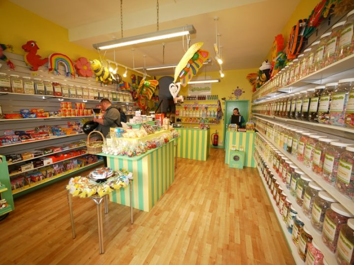 An interior shot of our sweet shop showing sweet jars and a selection of our tempting American candy