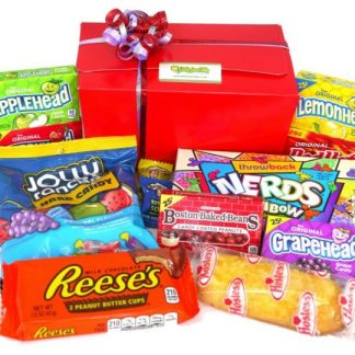 a fabulous presentation box filled with the very best in American sweets and candy - includes Appleheads, Cherryheads, Lemonheads, Red hots, Rainbow Nerds, Warheads, Boston Baked Beans, Grapeheads, Twinkie, Reeces Peanut Butter Cups, Jolly Rancher Hard Candy