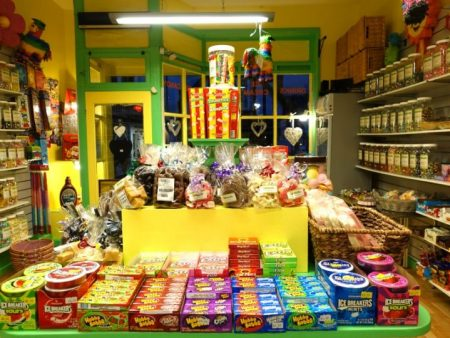 Internal shot of our bright and colourful Devon sweet shop
