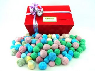 1 kilo of assorted colourful bonbon sweets with red presentation box