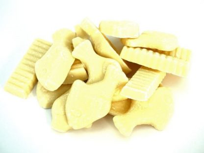 A selection of white chocolate shaped to look like fish and chips - famous retro sweet