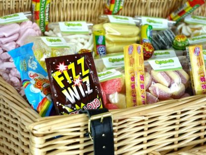 Close up shot of retro sweets in a sweet hamper