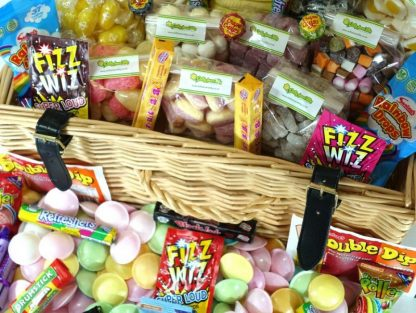 Close up for fab selection of retro sweets in a hamper