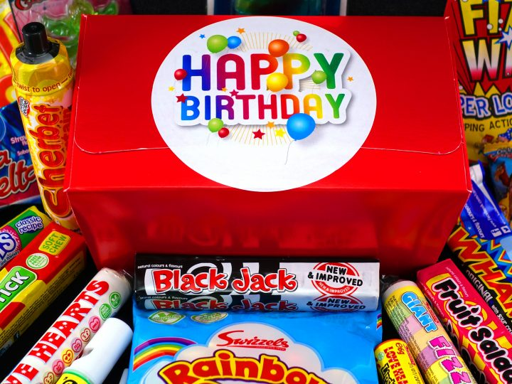 Happy Birthday Retro Sweet Box Now Available At DaffyDownDilly Online Our Beautiful Gift Is Packed Full Of Delicious Goodies And Presented With A