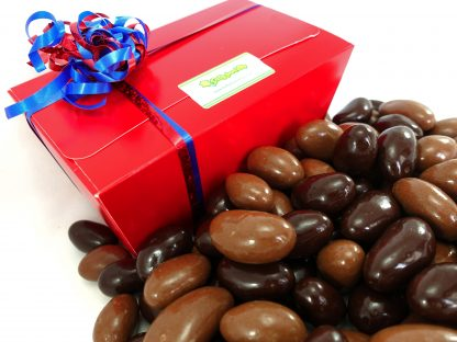 Milk and plain chocolate Brazils in a presentation gift box