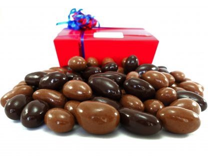 Milk and dark chocolate brazils in a gift box
