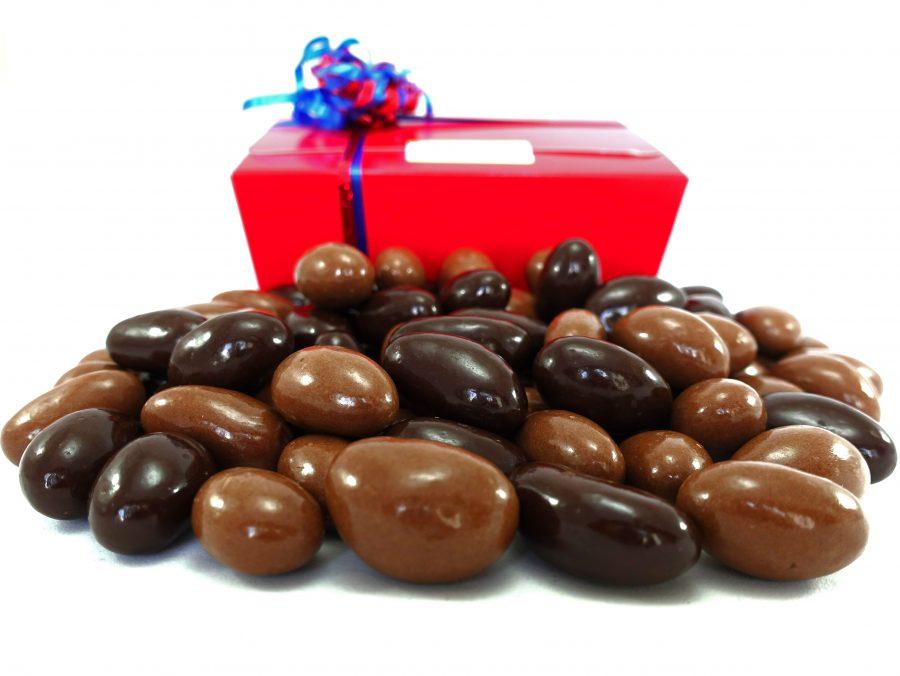 Milk and dark chocolate brazils in a gift box