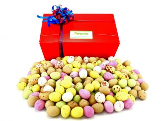 Small chocolate eggs in gift box