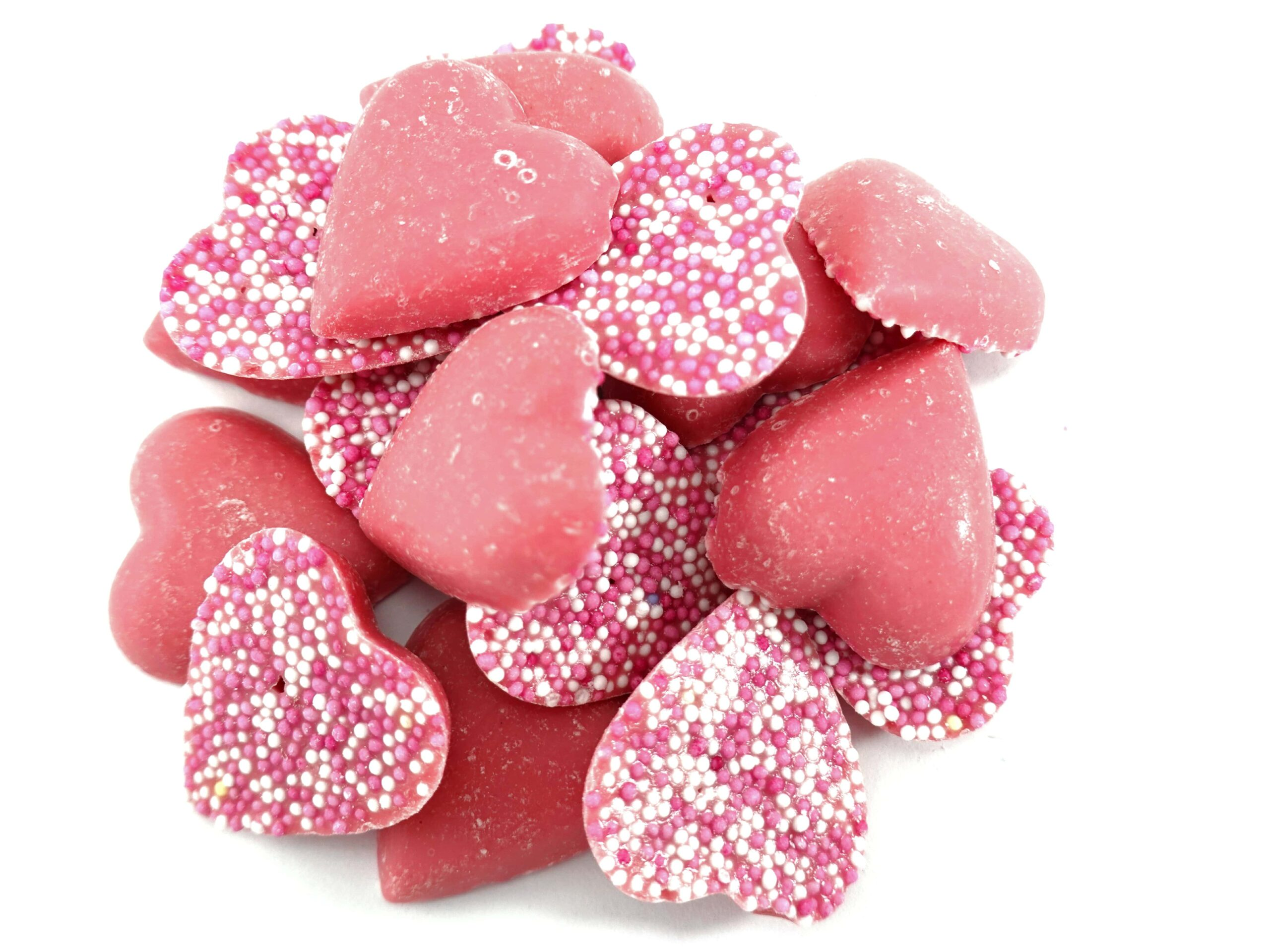 Pink chocolate in heart shapes