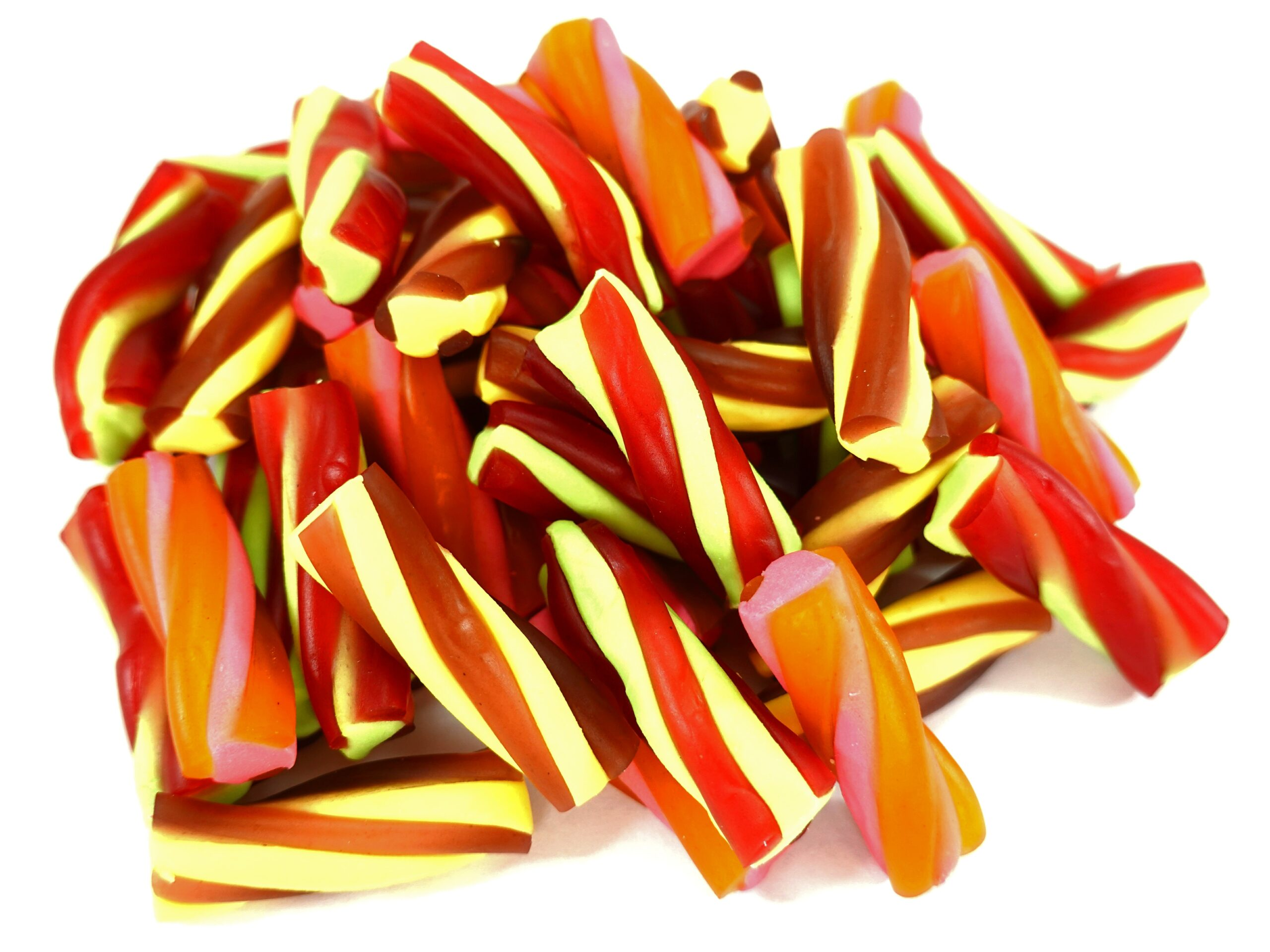 Tutti frutti, cola and raspberry flavoured twisted candy