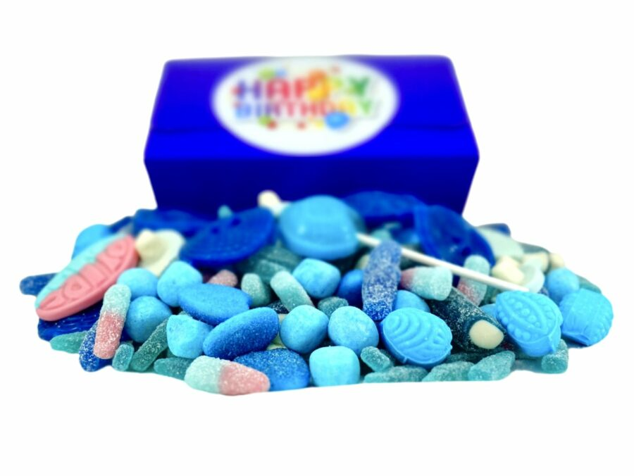 1 kilo of blue sweets in a gift box with happy Birthday sticker