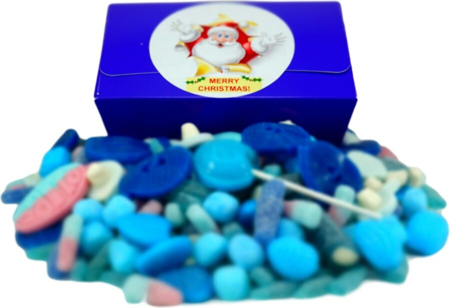 Christmas gift box of sweets filled with 1 kilo of blue sweets