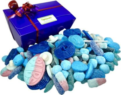 1 kilo of blue sweets in blue gift box