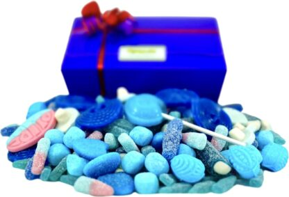 Pick and Mix blue sweets in a blue gift box with free personalisation