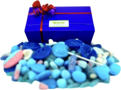 Assorted blue box of sweets pick and mis